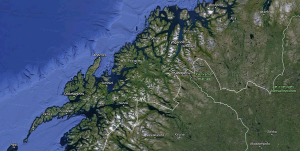 Google earth view of northern Finland