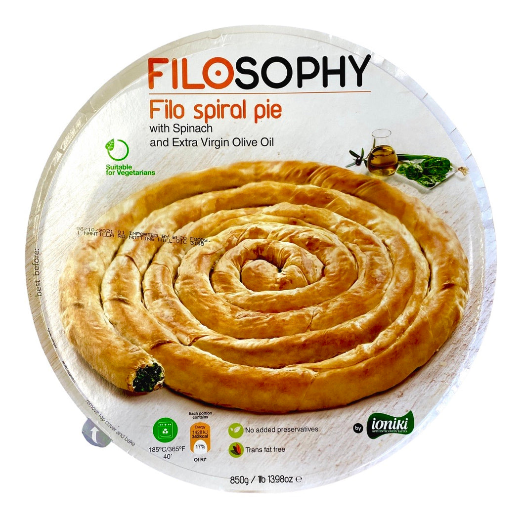 Filo Spiral Pie - Spinach & Extra Virgin Olive Oil by Filosophy - 850g