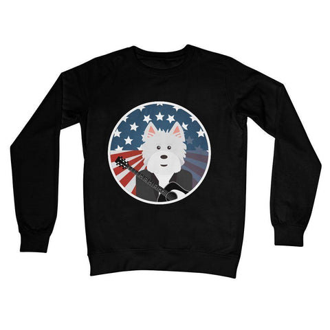 American Westie With a Guitar Crew Neck Sweatshirt Apparel kite.ly S Jet Black
