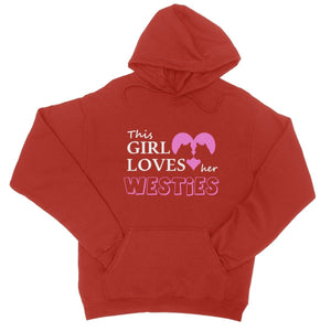 This Girl Loves Her Westies Hoodie Apparel kite.ly S Fire Red