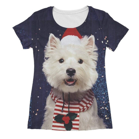 Image of Christmas Westie Women's Sublimation T-Shirt Apparel kite.ly XS