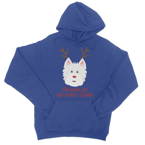 Image of Rudolph the Red nosed Westie College Hoodie Apparel kite.ly S Royal Blue