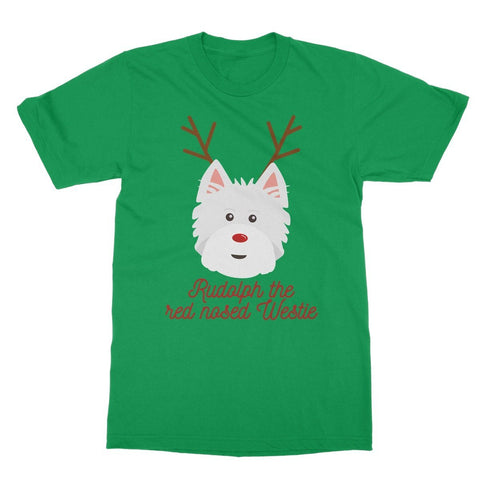 Image of Rudolph the Red nosed Westie Softstyle T-shirt Apparel kite.ly S Irish Green