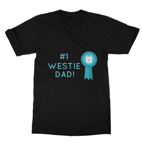 Image of Number 1 Westie Dad Softstyle T-shirt Apparel kite.ly S Black