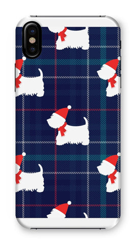 Image of Blue Tartan Westie in a Hat and Scarf Phone Case Phone & Tablet Cases kite.ly iPhone XS Snap Gloss