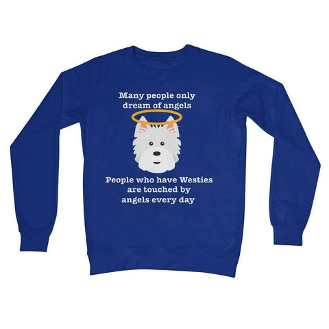 Image of Westie Angel Crew Neck Sweatshirt Apparel kite.ly S Royal Blue