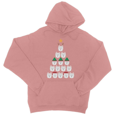 Image of Westie Face Christmas Tree College Hoodie Apparel kite.ly S Dusty Pink