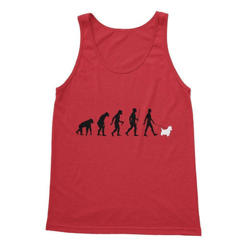 The Evolution Of Man And Westie Softstyle Tank Top Apparel kite.ly S Red