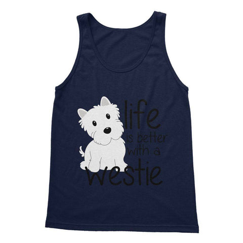 Life is Better With a Westie Softstyle Tank Top Apparel kite.ly S Navy
