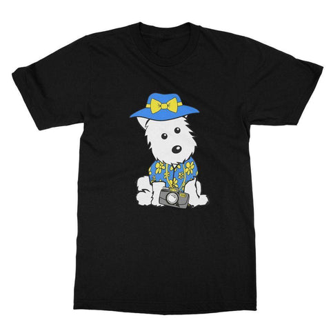 Image of Summer Holiday Westie Softstyle T-shirt Apparel kite.ly S Black