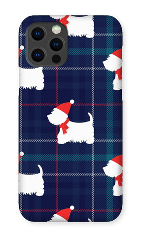 Image of Blue Tartan Westie in a Hat and Scarf Phone Case Phone & Tablet Cases kite.ly iPhone 12 Pro Snap Gloss