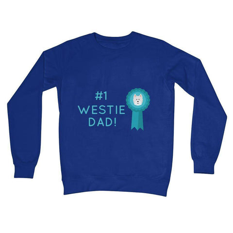 Image of Number 1 Westie Dad Crew Neck Sweatshirt Apparel kite.ly S Royal Blue