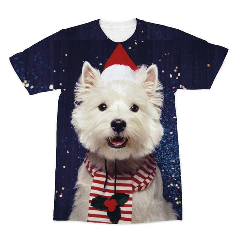 Image of Christmas Westie Sublimation T-Shirt Apparel kite.ly S