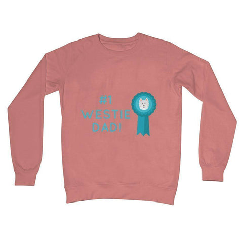 Image of Number 1 Westie Dad Crew Neck Sweatshirt Apparel kite.ly S Dusty Pink