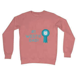Number 1 Westie Dad Crew Neck Sweatshirt Apparel kite.ly S Dusty Pink