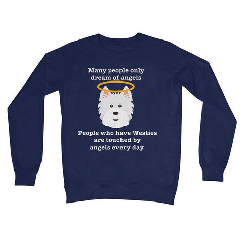 Image of Westie Angel Crew Neck Sweatshirt Apparel kite.ly S New French Navy