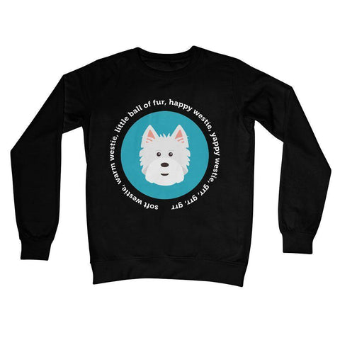 Image of Happy Westie - Big Bang Theory Crew Neck Sweatshirt Apparel kite.ly S Jet Black