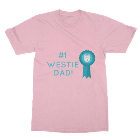 Image of Number 1 Westie Dad Softstyle T-shirt Apparel kite.ly S Light Pink