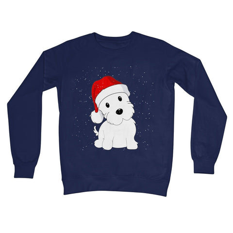 Image of Westie in a Santa hat Crew Neck Sweatshirt Apparel kite.ly S New French Navy