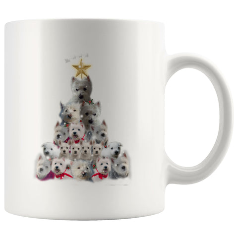 Image of Christmas Tree Of Westies Mug - Xmas West Highland Terrier Coffee Drinkware teelaunch 11oz Mug