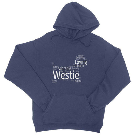 Image of Westie Word Cloud College Hoodie Apparel kite.ly S New French Navy
