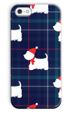 Image of Blue Tartan Westie in a Hat and Scarf Phone Case Phone & Tablet Cases kite.ly iPhone SE (2020) Snap Gloss