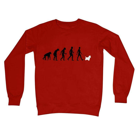 The Evolution Of Man And Westie Crew Neck Sweatshirt Apparel kite.ly S Fire Red