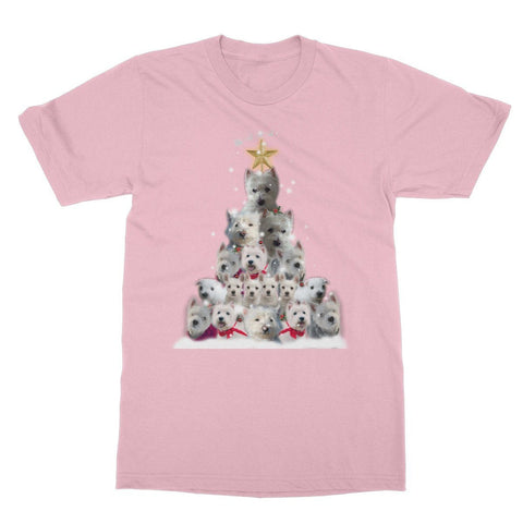 Image of Westie Christmas Tree Softstyle T-shirt Apparel kite.ly S Light Pink