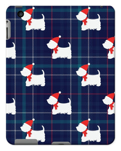 Blue Tartan Westie in a Hat and Scarf Tablet Cases Phone & Tablet Cases kite.ly iPad 2/3/4 Gloss