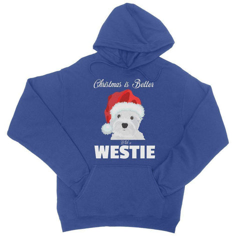 Image of Christmas is better with a Westie College Hoodie Apparel kite.ly S Royal Blue