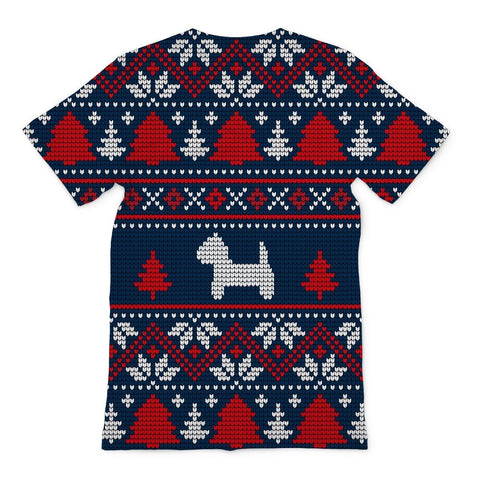 Image of Blue Westie Christmas Sublimation T-Shirt Apparel kite.ly