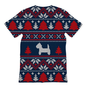 Blue Westie Christmas Sublimation T-Shirt Apparel kite.ly