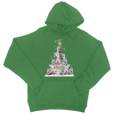 Image of Westie Christmas Tree College Hoodie Apparel kite.ly S Kelly Green