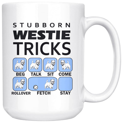 Image of Stubborn Westie Tricks Mug Blue Drinkware teelaunch 15oz Mug