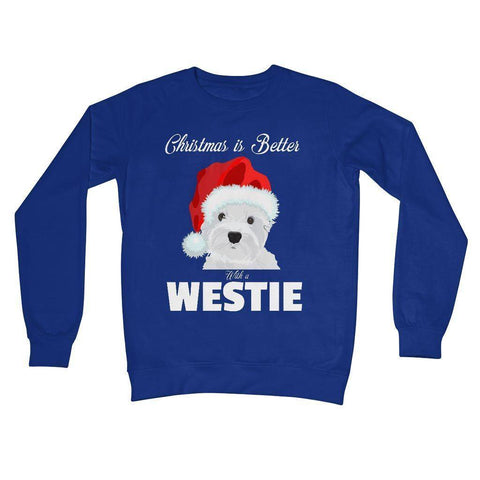 Image of Christmas is better with a Westie Crew Neck Sweatshirt Apparel kite.ly S Royal Blue