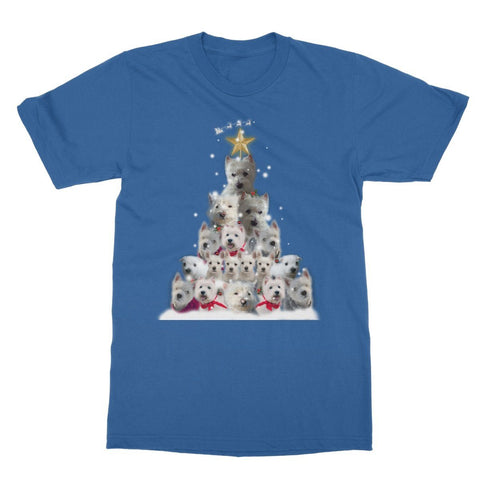 Image of Westie Christmas Tree Softstyle T-shirt Apparel kite.ly S Royal Blue
