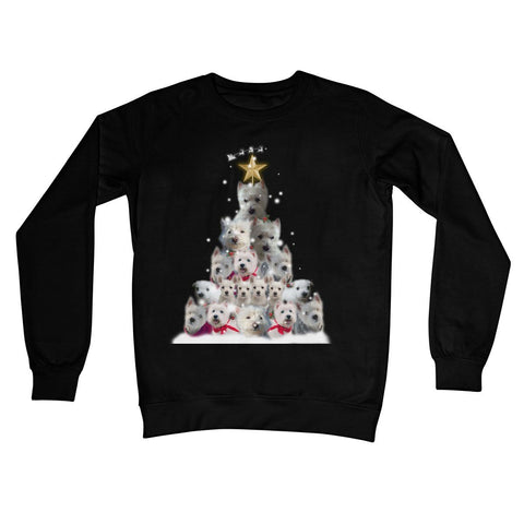 Image of Westie Christmas Tree Crew Neck Sweatshirt Apparel kite.ly S Jet Black