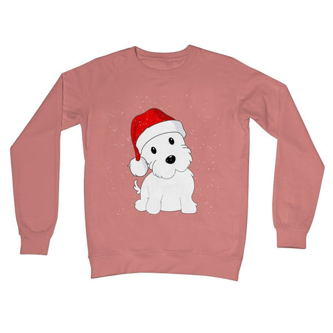 Image of Westie in a Santa hat Crew Neck Sweatshirt Apparel kite.ly S Dusty Pink