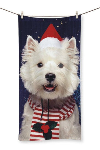 "Christmas Westie Towel Homeware kite.ly 19.7""x39.4"""