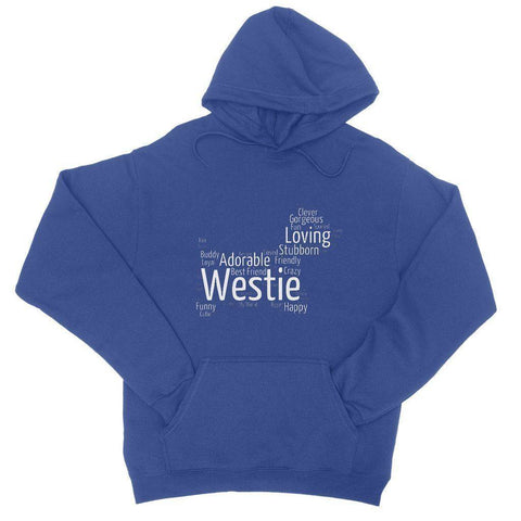 Image of Westie Word Cloud College Hoodie Apparel kite.ly S Royal Blue