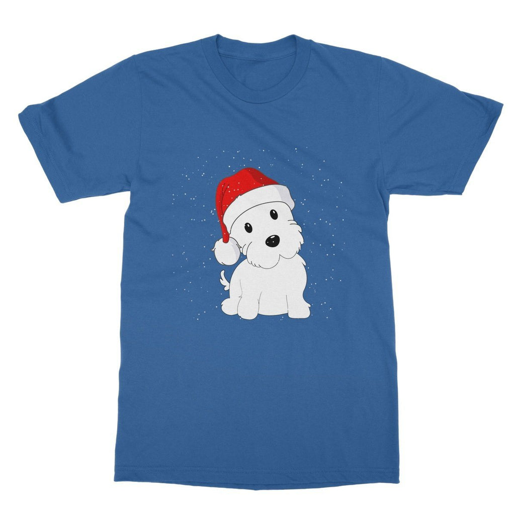 Westie in a Santa hat Softstyle T-shirt Apparel kite.ly S Royal Blue