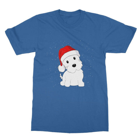 Image of Westie in a Santa hat Softstyle T-shirt Apparel kite.ly S Royal Blue