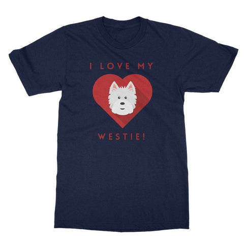 I Love My Westie Heart Softstyle T-shirt Apparel kite.ly S Navy