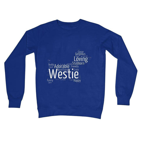 Image of Westie Word Cloud Crew Neck Sweatshirt Apparel kite.ly S Royal Blue