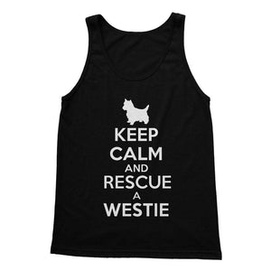 Keep Calm and Rescue a Westie Softstyle Tank Top Apparel kite.ly S Black