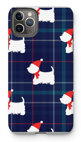Image of Blue Tartan Westie in a Hat and Scarf Phone Case Phone & Tablet Cases kite.ly iPhone 11 Pro Max Tough Gloss