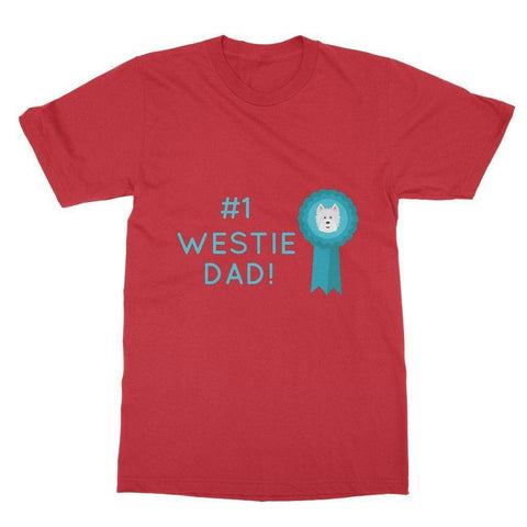 Image of Number 1 Westie Dad Softstyle T-shirt Apparel kite.ly S Red