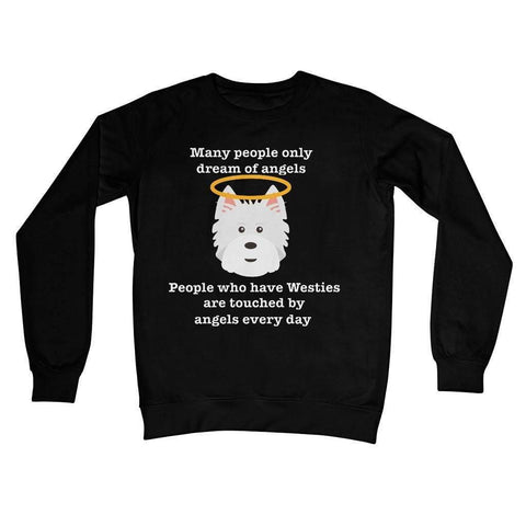 Image of Westie Angel Crew Neck Sweatshirt Apparel kite.ly S Jet Black