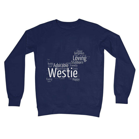 Image of Westie Word Cloud Crew Neck Sweatshirt Apparel kite.ly S New French Navy