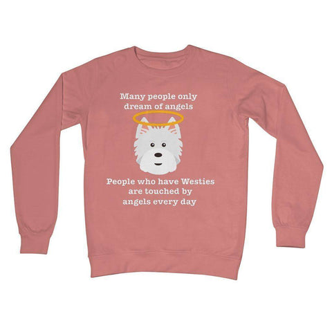 Image of Westie Angel Crew Neck Sweatshirt Apparel kite.ly S Dusty Pink